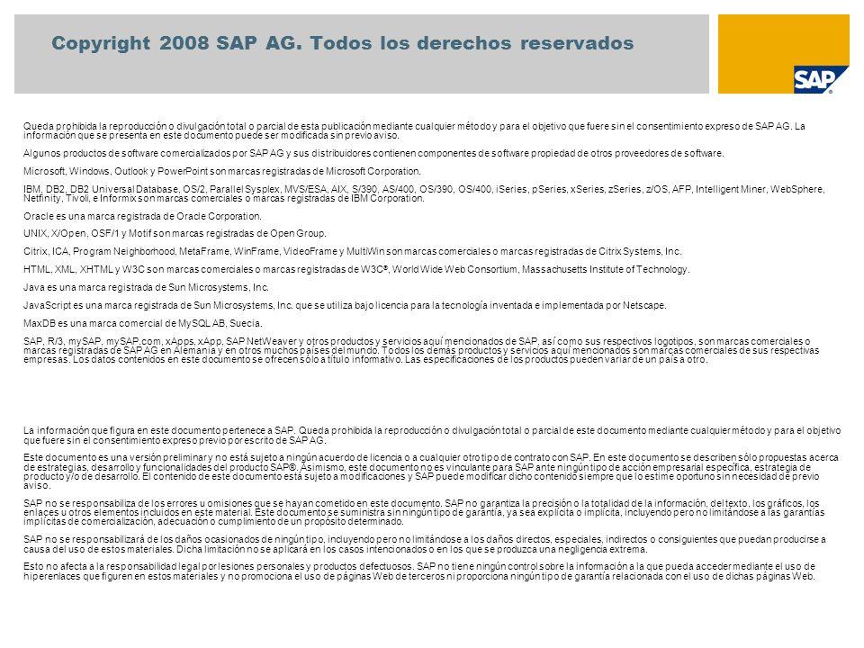 Copyright 2008 SAP AG. Todos los derechos reservados Queda prohibida la reproducción o divulgación total o parcial de esta publicación mediante cualqu