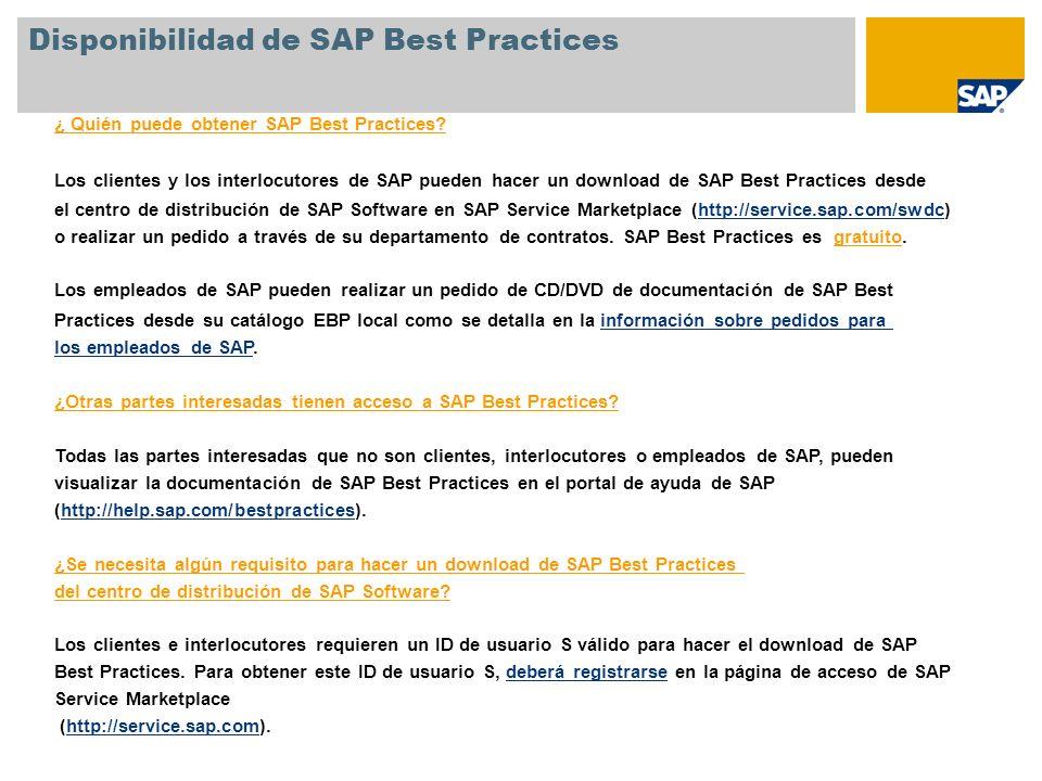 ¿ Quién puede obtener SAP Best Practices? Los clientes y los interlocutores de SAP pueden hacer un download de SAP Best Practices desde el centro de d