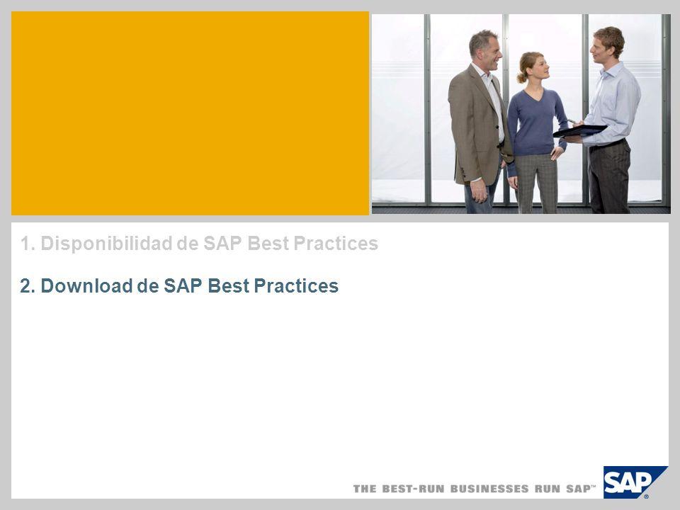 1. Disponibilidad de SAP Best Practices 2. Download de SAP Best Practices