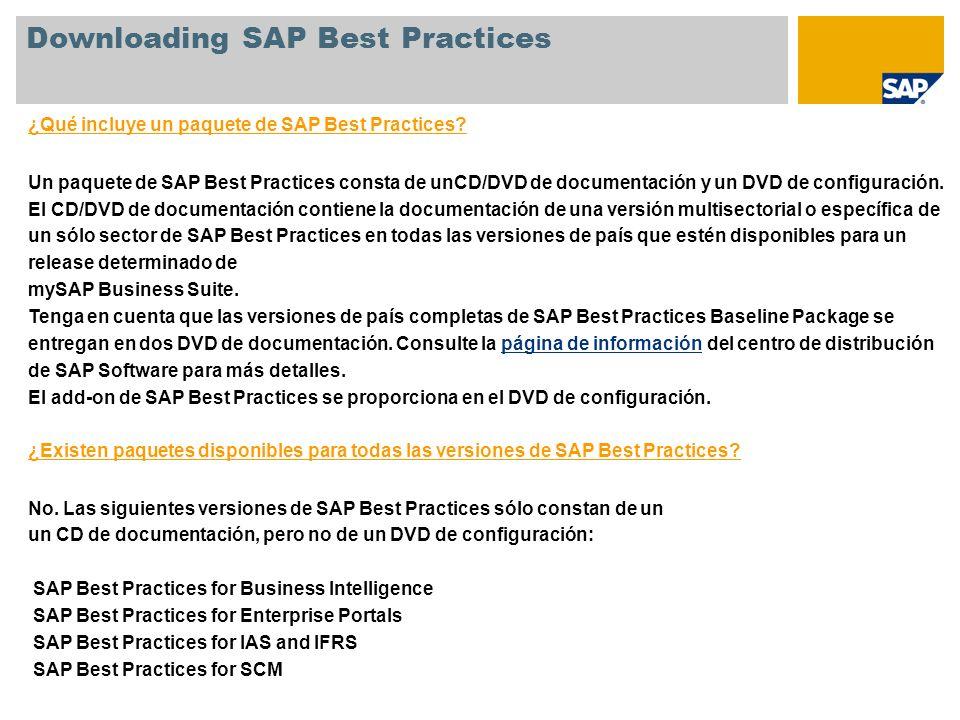 ¿Qué incluye un paquete de SAP Best Practices? Un paquete de SAP Best Practices consta de unCD/DVD de documentación y un DVD de configuración. El CD/D