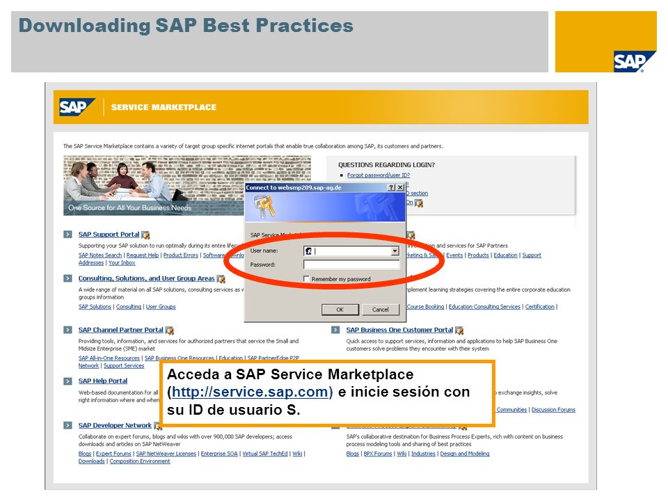 Downloading SAP Best Practices Seleccione Consulting, Solutions, and User Group Areas.