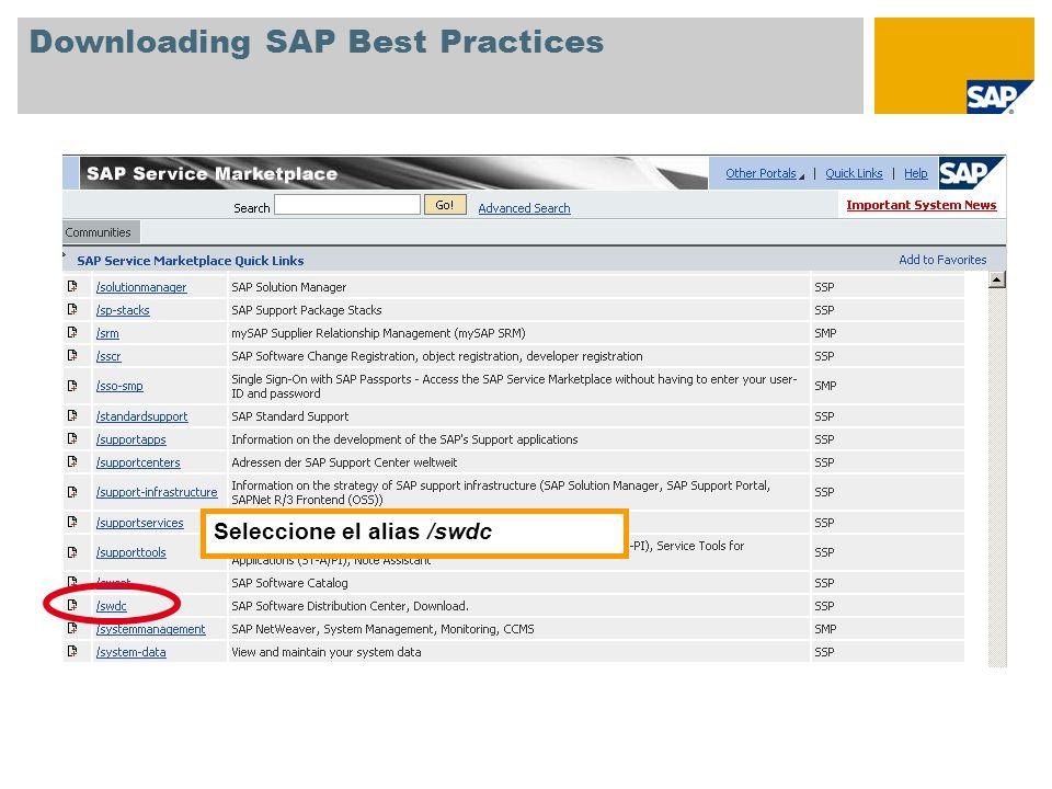 Downloading SAP Best Practices En la pantalla de entrada del centro de distribución de software, seleccione SAP Installations and Upgrades Entry by Application Group SAP Best Practices Best Practices for mySAP All-in-One y haga clic en la versión de SAP Best Practices que desee.