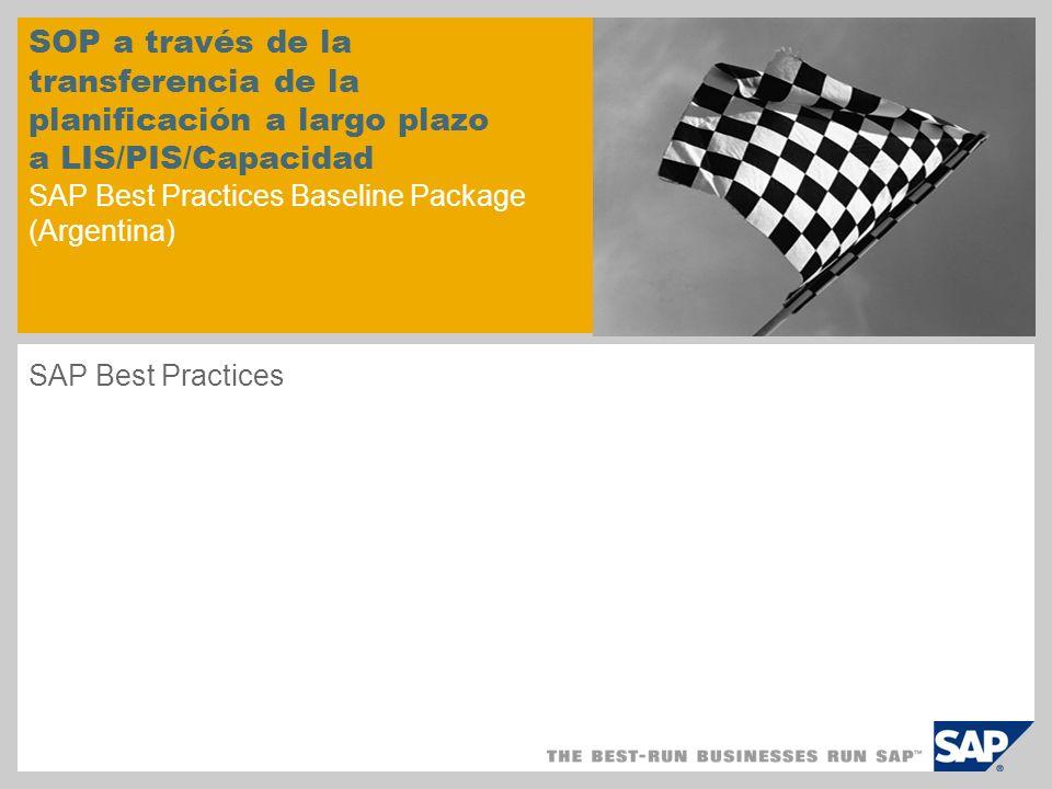 SOP a través de la transferencia de la planificación a largo plazo a LIS/PIS/Capacidad SAP Best Practices Baseline Package (Argentina) SAP Best Practi