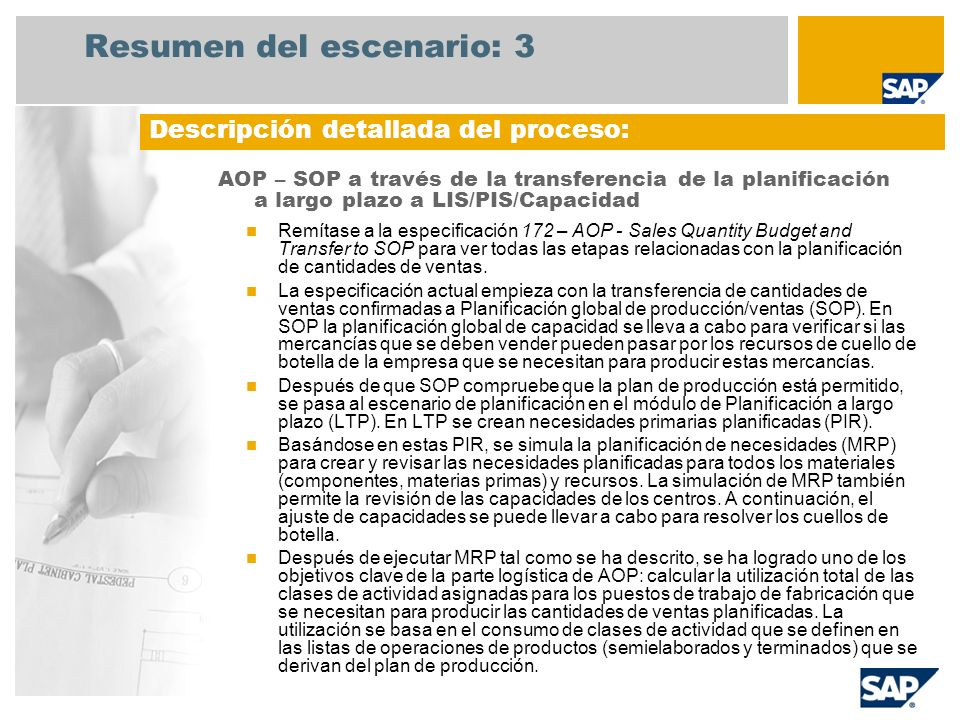 Resumen del escenario: 3 AOP – SOP a través de la transferencia de la planificación a largo plazo a LIS/PIS/Capacidad Remítase a la especificación 172