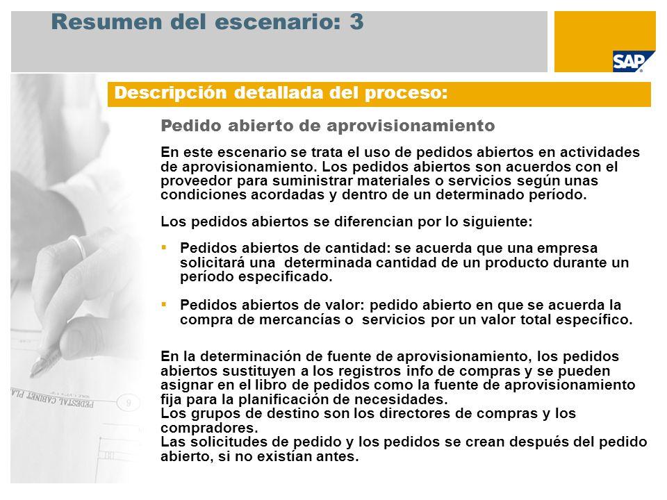 Resumen del escenario: 3 Descripción detallada del proceso: Pedido abierto de aprovisionamiento En este escenario se trata el uso de pedidos abiertos