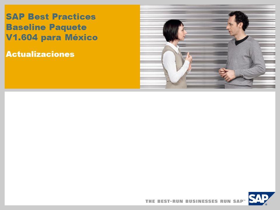 SAP Best Practices Baseline Paquete V1.604 para México Actualizaciones