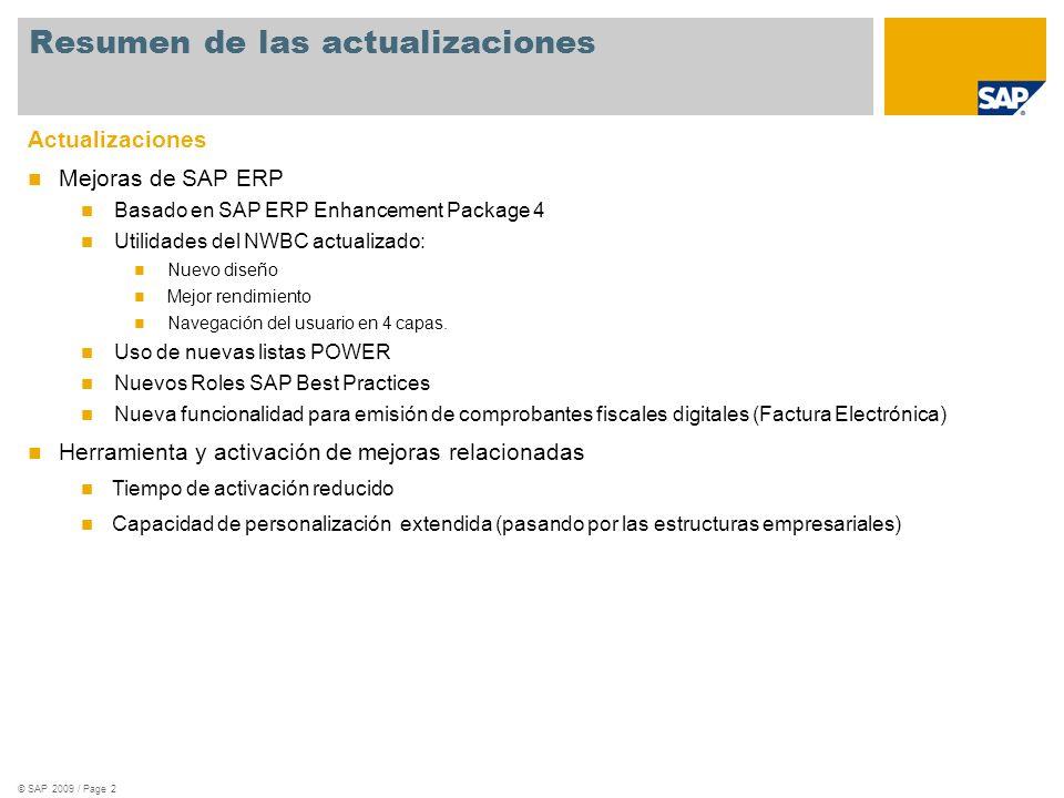 © SAP 2009 / Page 2 Actualizaciones Mejoras de SAP ERP Basado en SAP ERP Enhancement Package 4 Utilidades del NWBC actualizado: Nuevo diseño Mejor ren