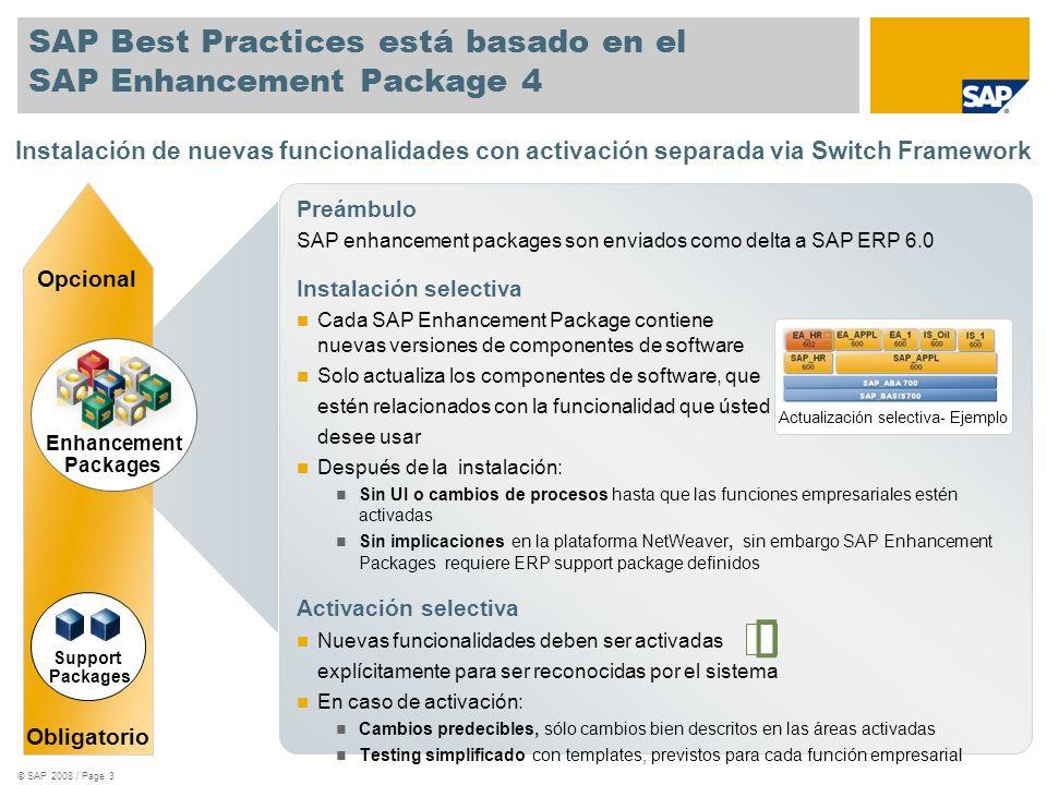 © SAP 2008 / Page 3 SAP Best Practices está basado en el SAP Enhancement Package 4 Preámbulo SAP enhancement packages son enviados como delta a SAP ER
