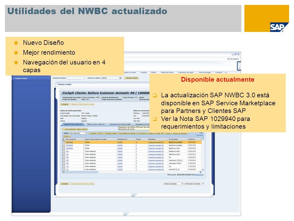 Utilidades del NWBC actualizado Nuevo Diseño Mejor rendimiento Navegación del usuario en 4 capas Disponible actualmente La actualización SAP NWBC 3.0