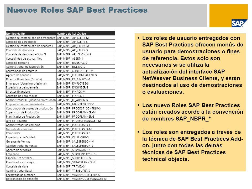 Nuevos Roles SAP Best Practices Los roles de usuario entregados con SAP Best Practices ofrecen menús de usuario para demostraciones o fines de referen