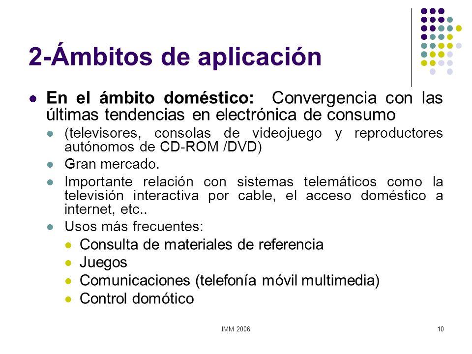 IMM 200610 2-Ámbitos de aplicación En el ámbito doméstico: Convergencia con las últimas tendencias en electrónica de consumo (televisores, consolas de