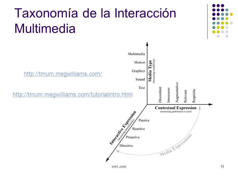 IMM 200613 Taxonomía de la Interacción Multimedia http://tmum.megwilliams.com/ http://tmum.megwilliams.com/tutorialintro.html
