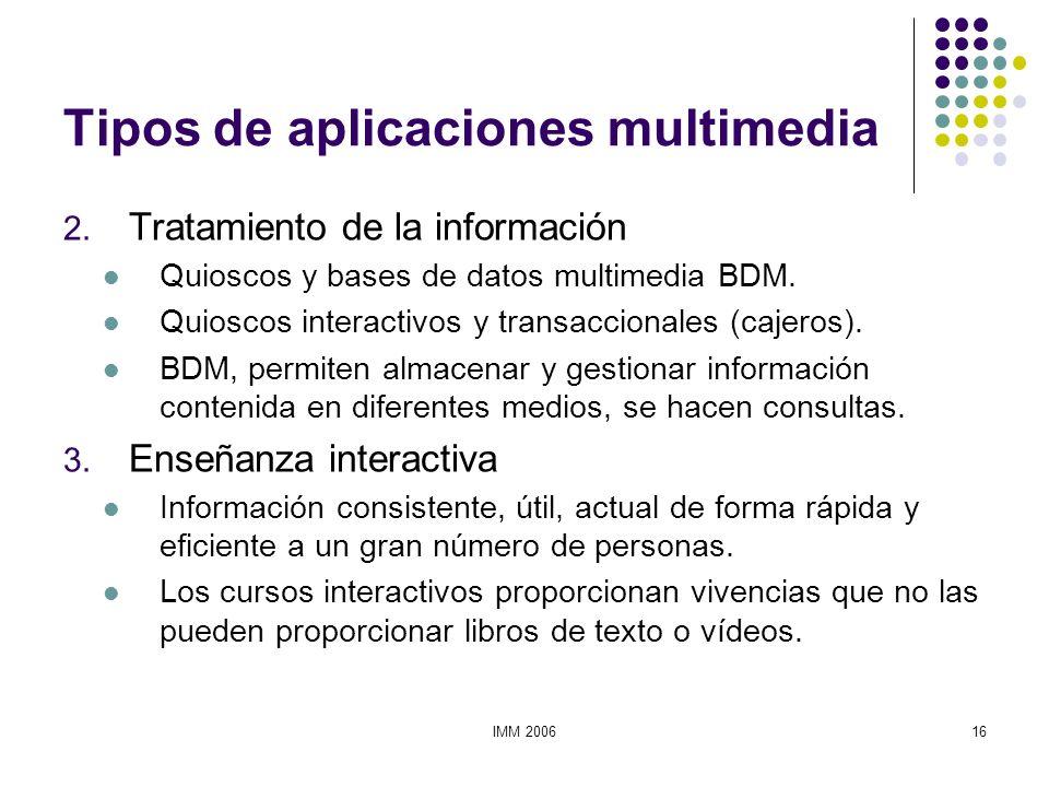 IMM 200616 Tipos de aplicaciones multimedia 2. Tratamiento de la información Quioscos y bases de datos multimedia BDM. Quioscos interactivos y transac