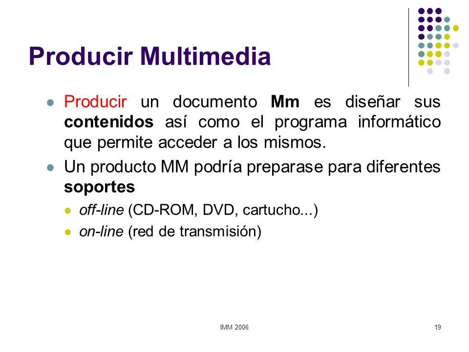IMM 200619 Producir Multimedia Producir un documento Mm es diseñar sus contenidos así como el programa informático que permite acceder a los mismos. U