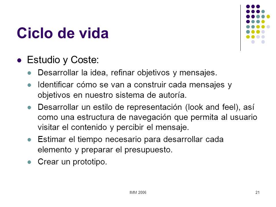 IMM 200621 Ciclo de vida Estudio y Coste: Desarrollar la idea, refinar objetivos y mensajes. Identificar cómo se van a construir cada mensajes y objet