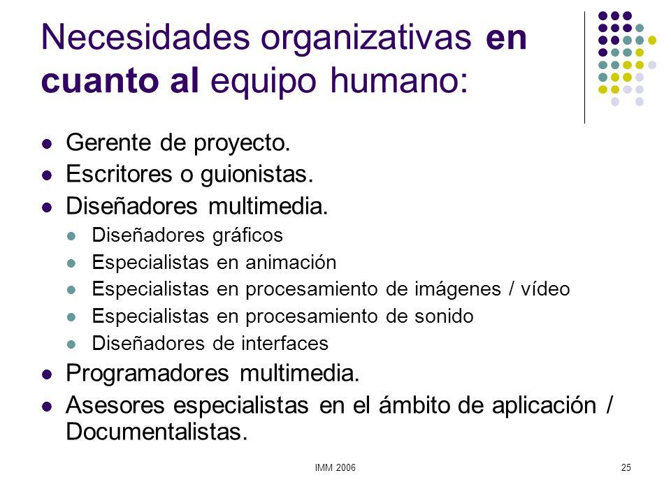 IMM 200625 Necesidades organizativas en cuanto al equipo humano: Gerente de proyecto. Escritores o guionistas. Diseñadores multimedia. Diseñadores grá