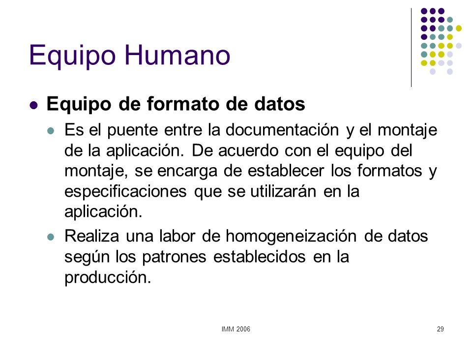 IMM 200629 Equipo Humano Equipo de formato de datos Es el puente entre la documentación y el montaje de la aplicación. De acuerdo con el equipo del mo
