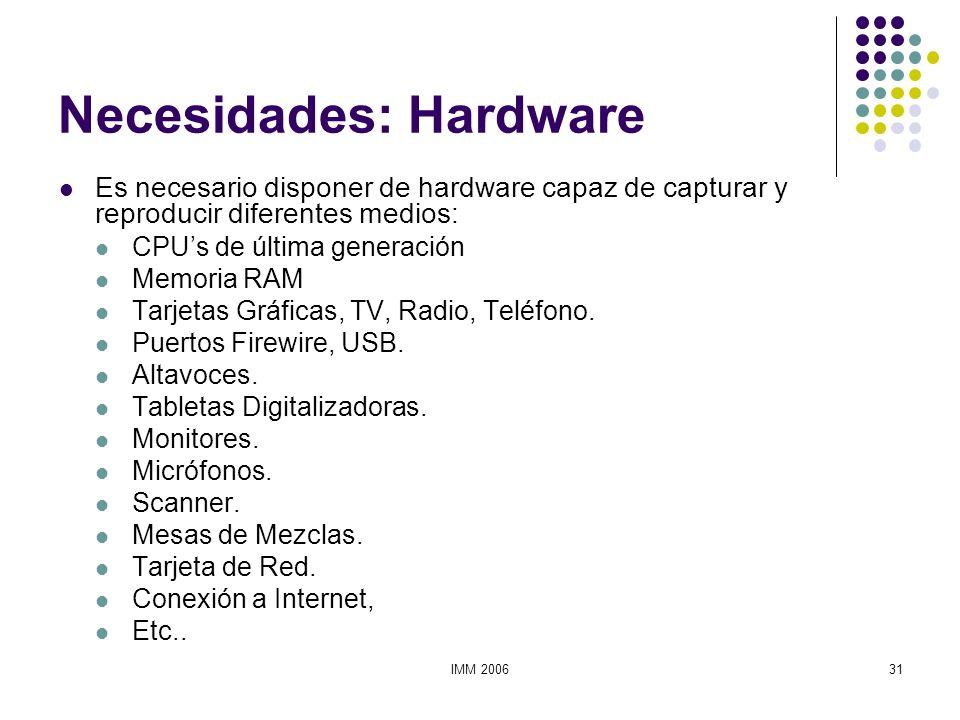 IMM 200631 Necesidades: Hardware Es necesario disponer de hardware capaz de capturar y reproducir diferentes medios: CPUs de última generación Memoria