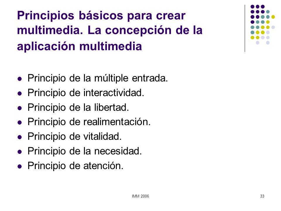 IMM 200633 Principios básicos para crear multimedia. La concepción de la aplicación multimedia Principio de la múltiple entrada. Principio de interact
