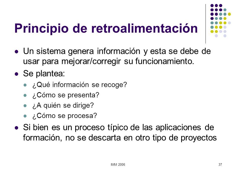 IMM 200637 Principio de retroalimentación Un sistema genera información y esta se debe de usar para mejorar/corregir su funcionamiento. Se plantea: ¿Q