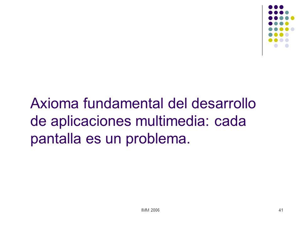 IMM 200641 Axioma fundamental del desarrollo de aplicaciones multimedia: cada pantalla es un problema.