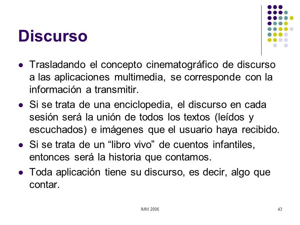IMM 200643 Discurso Trasladando el concepto cinematográfico de discurso a las aplicaciones multimedia, se corresponde con la información a transmitir.