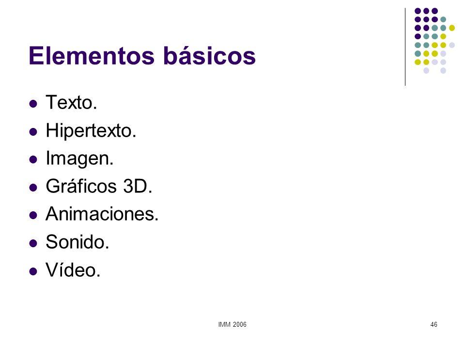 IMM 200646 Elementos básicos Texto. Hipertexto. Imagen. Gráficos 3D. Animaciones. Sonido. Vídeo.
