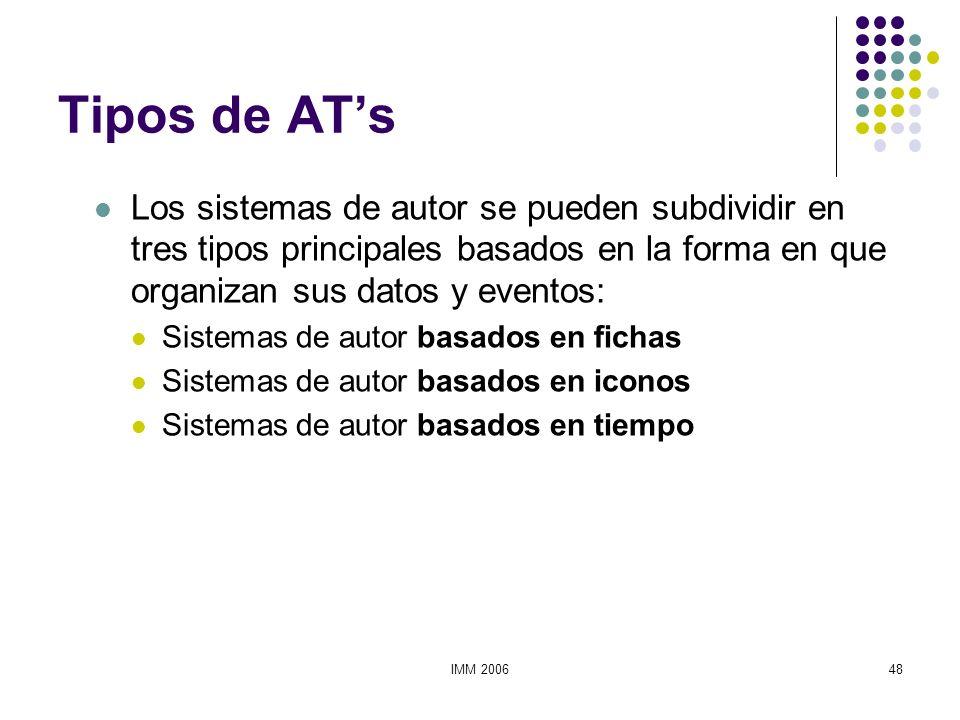 IMM 200648 Tipos de ATs Los sistemas de autor se pueden subdividir en tres tipos principales basados en la forma en que organizan sus datos y eventos: