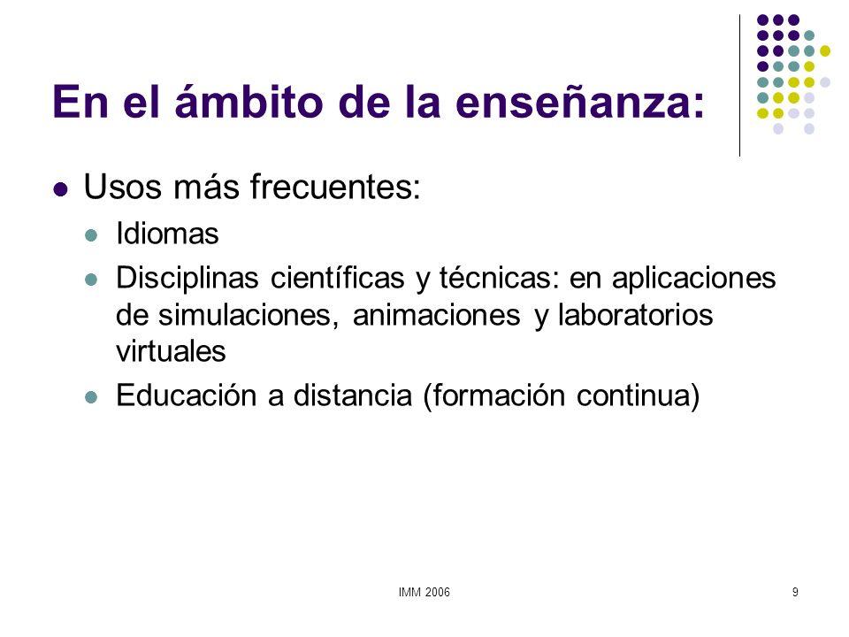 IMM 20069 En el ámbito de la enseñanza: Usos más frecuentes: Idiomas Disciplinas científicas y técnicas: en aplicaciones de simulaciones, animaciones