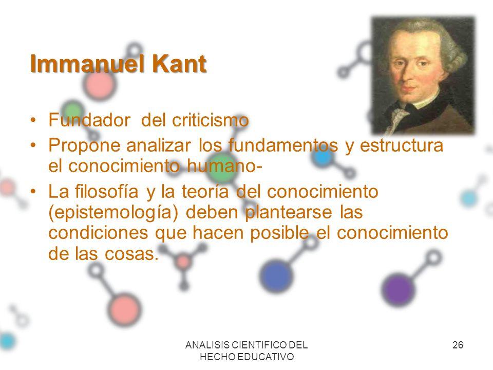 Immanuel Kant Fundador del criticismo Propone analizar los fundamentos y estructura el conocimiento humano- La filosofía y la teoría del conocimiento