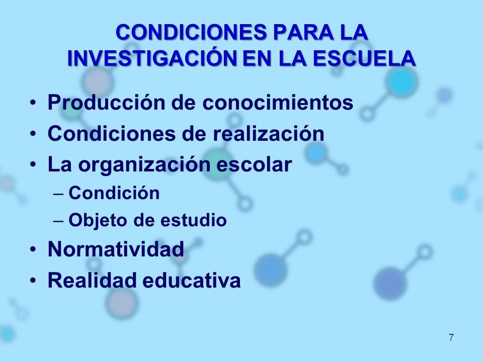 CONDICIONES PARA LA INVESTIGACIÓN EN LA ESCUELA Producción de conocimientos Condiciones de realización La organización escolar –Condición –Objeto de e