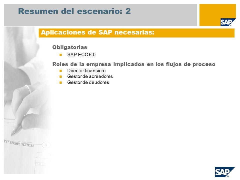 Resumen del escenario: 2 Obligatorias SAP ECC 6.0 Roles de la empresa implicados en los flujos de proceso Director financiero Gestor de acreedores Ges