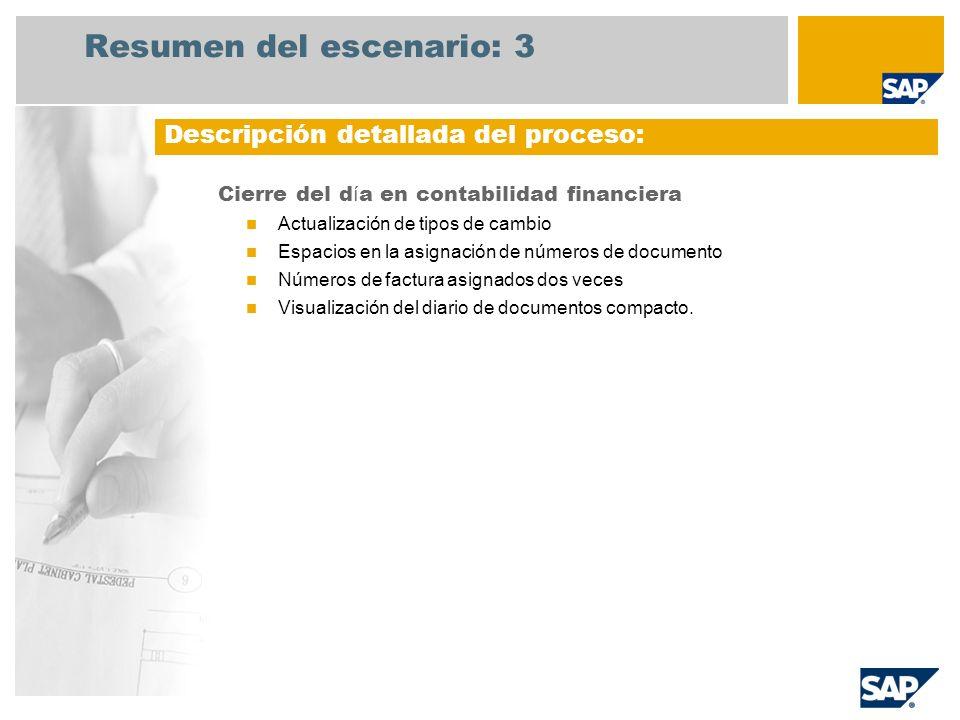 Resumen del escenario: 3 Cierre del d í a en contabilidad financiera Actualización de tipos de cambio Espacios en la asignación de números de document