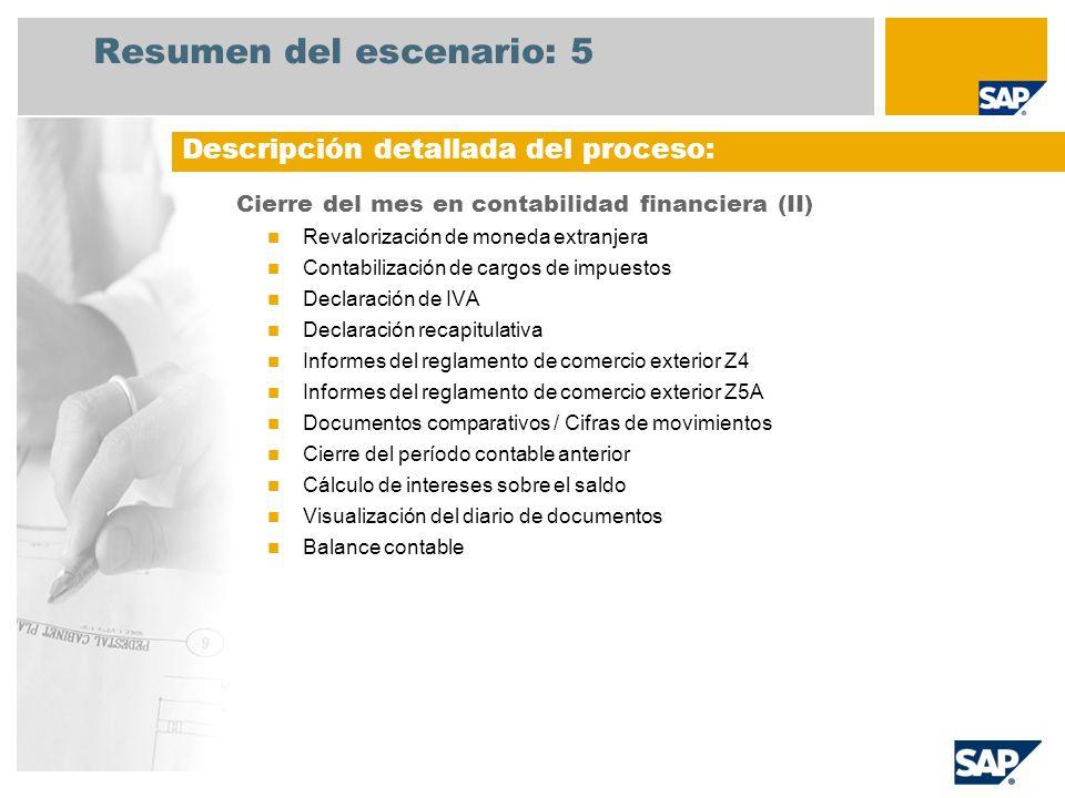 Resumen del escenario: 5 Cierre del mes en contabilidad financiera (II) Revalorización de moneda extranjera Contabilización de cargos de impuestos Dec