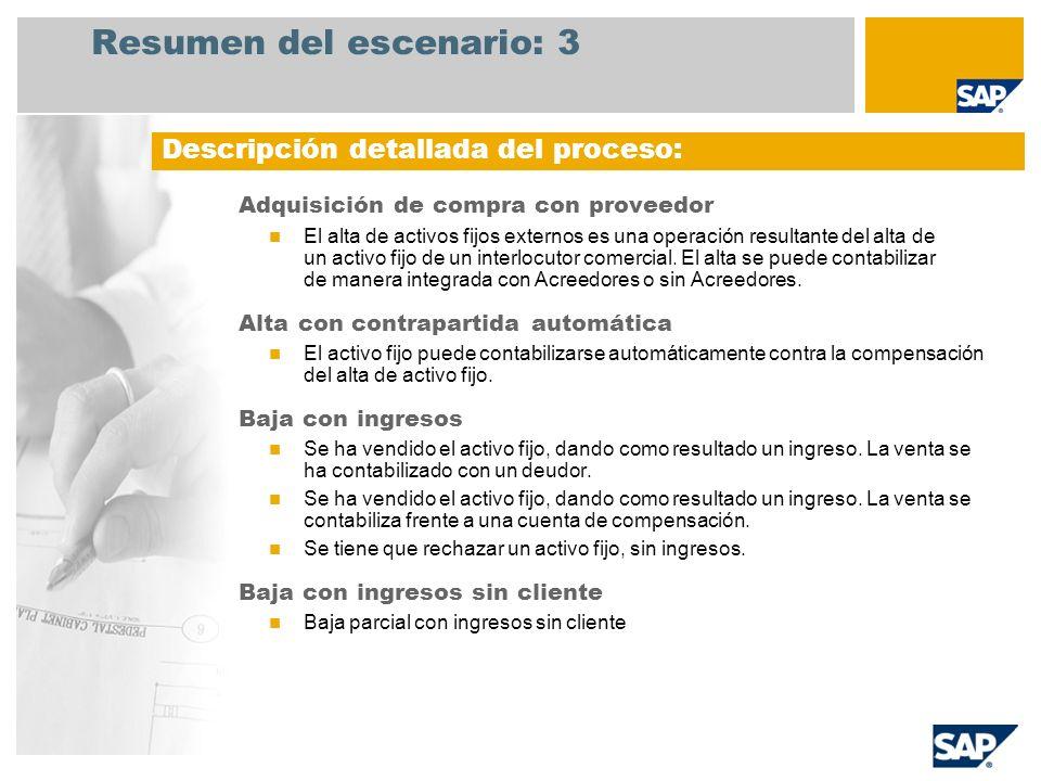 Resumen del escenario: 3 Adquisición de compra con proveedor El alta de activos fijos externos es una operación resultante del alta de un activo fijo