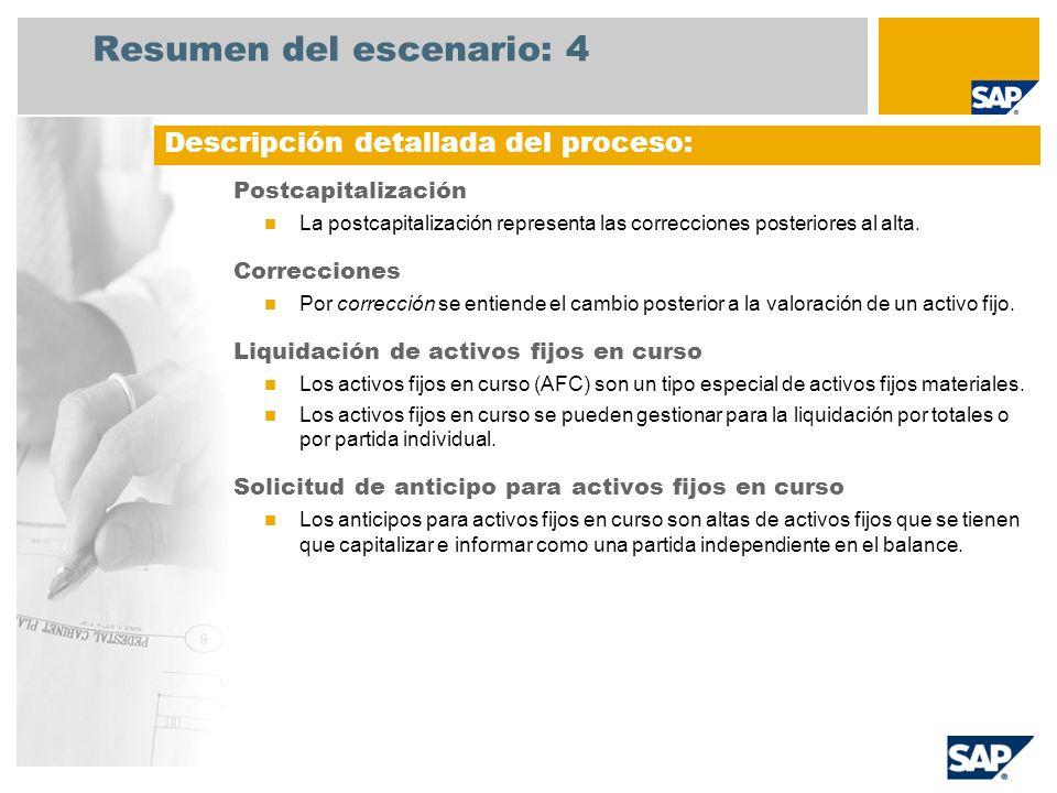 Resumen del escenario: 4 Postcapitalización La postcapitalización representa las correcciones posteriores al alta. Correcciones Por corrección se enti