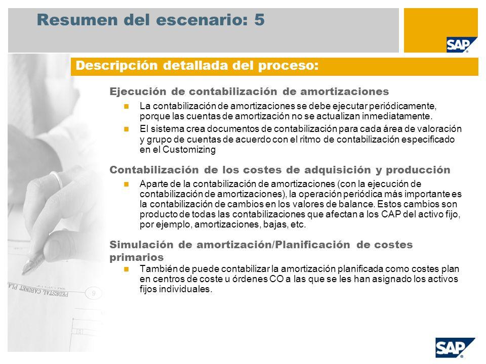 Resumen del escenario: 5 Ejecución de contabilización de amortizaciones La contabilización de amortizaciones se debe ejecutar periódicamente, porque l