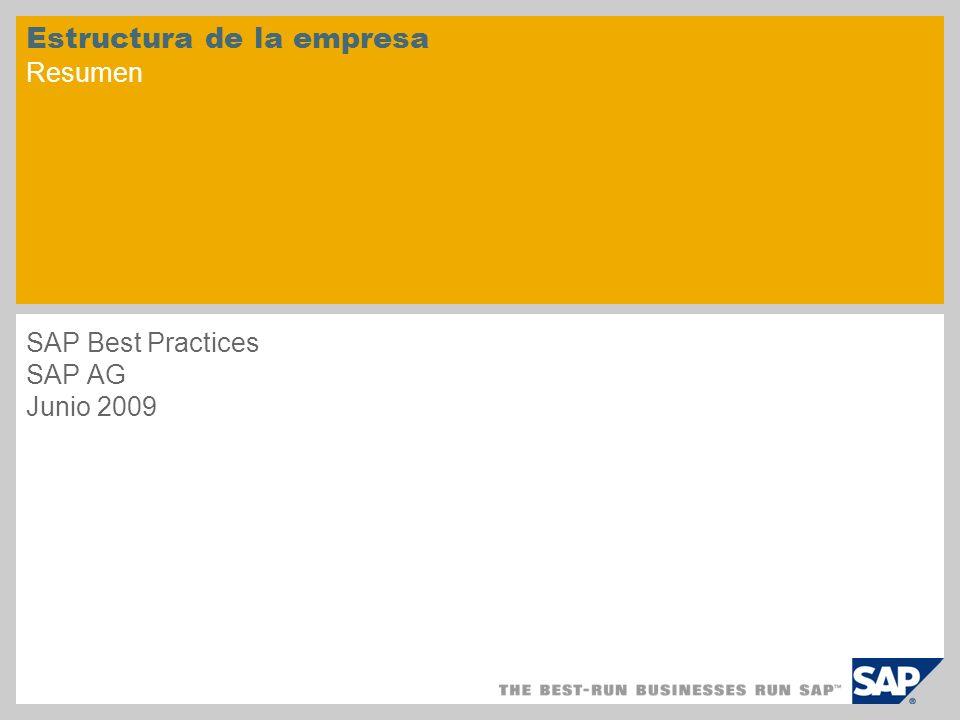 Estructura de la empresa Resumen SAP Best Practices SAP AG Junio 2009