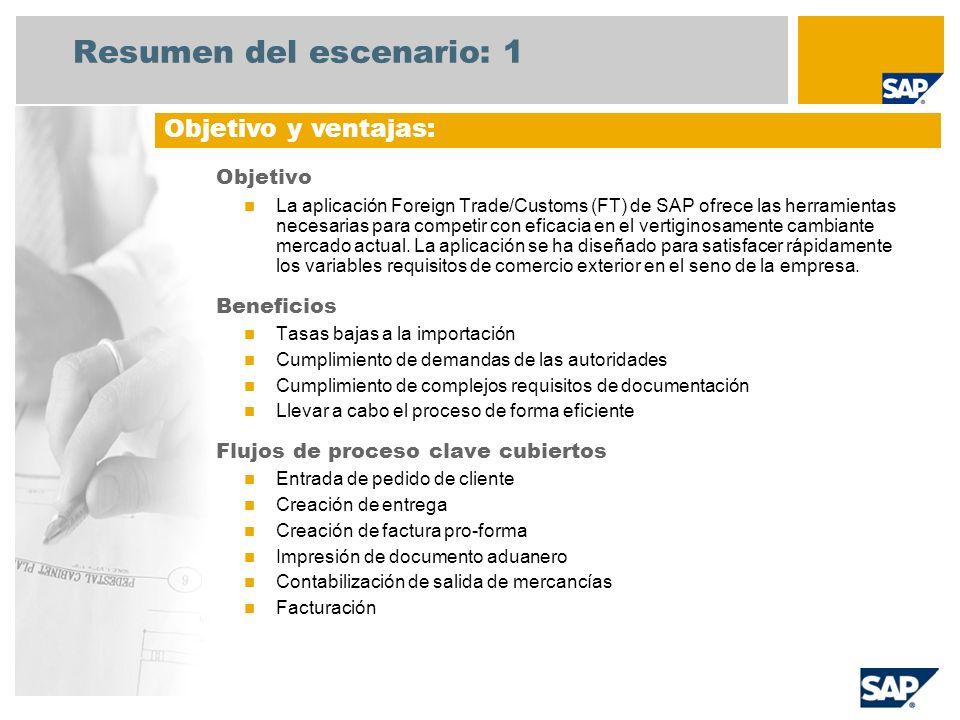 Resumen del escenario: 1 Objetivo La aplicación Foreign Trade/Customs (FT) de SAP ofrece las herramientas necesarias para competir con eficacia en el vertiginosamente cambiante mercado actual.