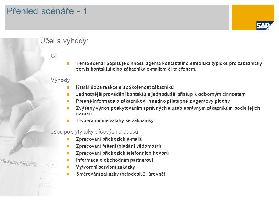 Přehled scénáře - 1 Cíl Tento scénář popisuje činnosti agenta kontaktního střediska typické pro zákaznický servis kontaktujícího zákazníka e-mailem či