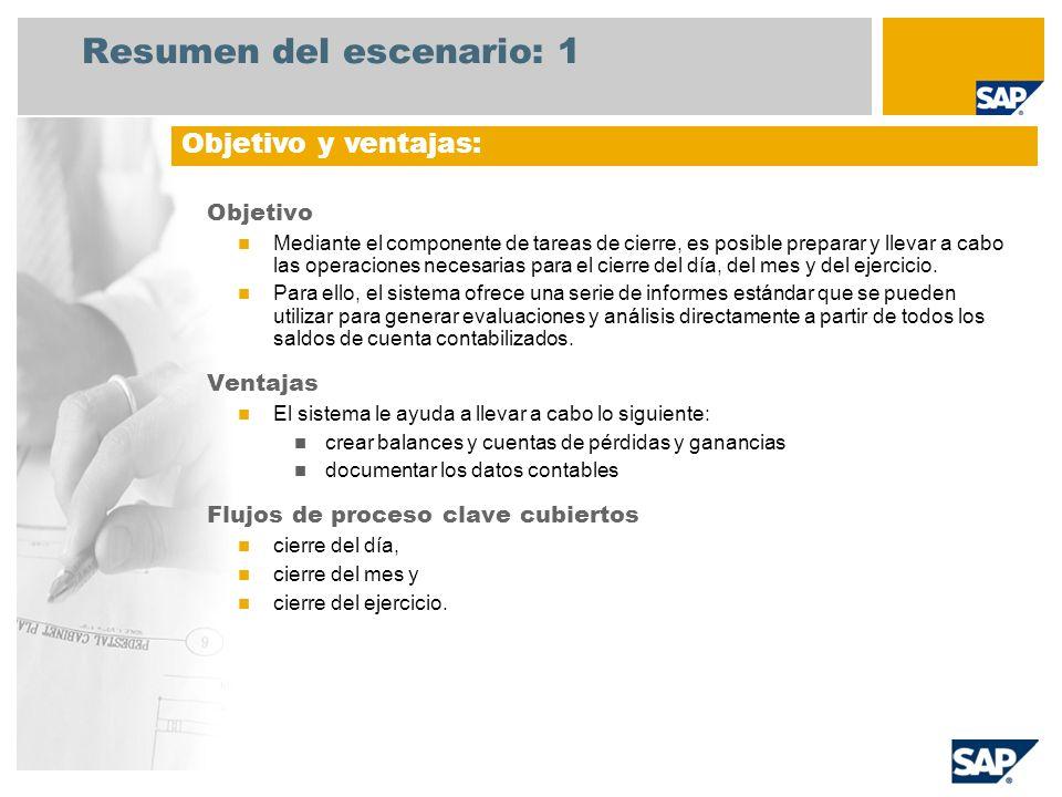Resumen del escenario: 1 Objetivo Mediante el componente de tareas de cierre, es posible preparar y llevar a cabo las operaciones necesarias para el c