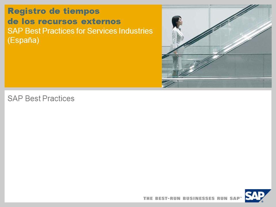 Registro de tiempos de los recursos externos SAP Best Practices for Services Industries (España) SAP Best Practices