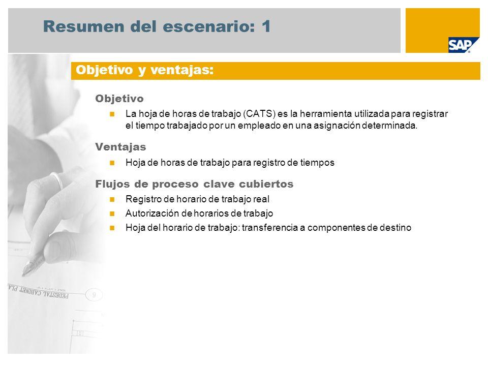 Resumen del escenario: 1 Objetivo La hoja de horas de trabajo (CATS) es la herramienta utilizada para registrar el tiempo trabajado por un empleado en