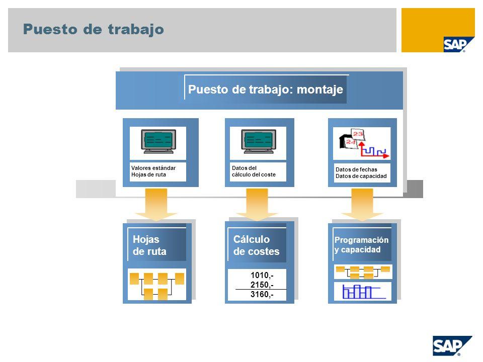 Operaciones de hojas de ruta/puesto de trabajo Cabecera de hoja de ruta Operación 10: Montaje final Componentes del material Puesto de trabajo Clave de control Valores estándar Clases de actividad Descripción....