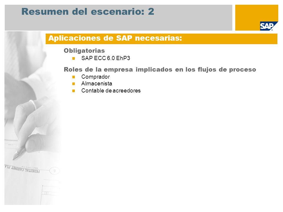 Resumen del escenario: 2 Obligatorias SAP ECC 6.0 EhP3 Roles de la empresa implicados en los flujos de proceso Comprador Almacenista Contable de acree