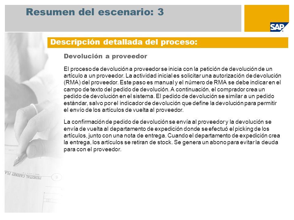Resumen del escenario: 3 Devolución a proveedor El proceso de devolución a proveedor se inicia con la petición de devolución de un artículo a un prove
