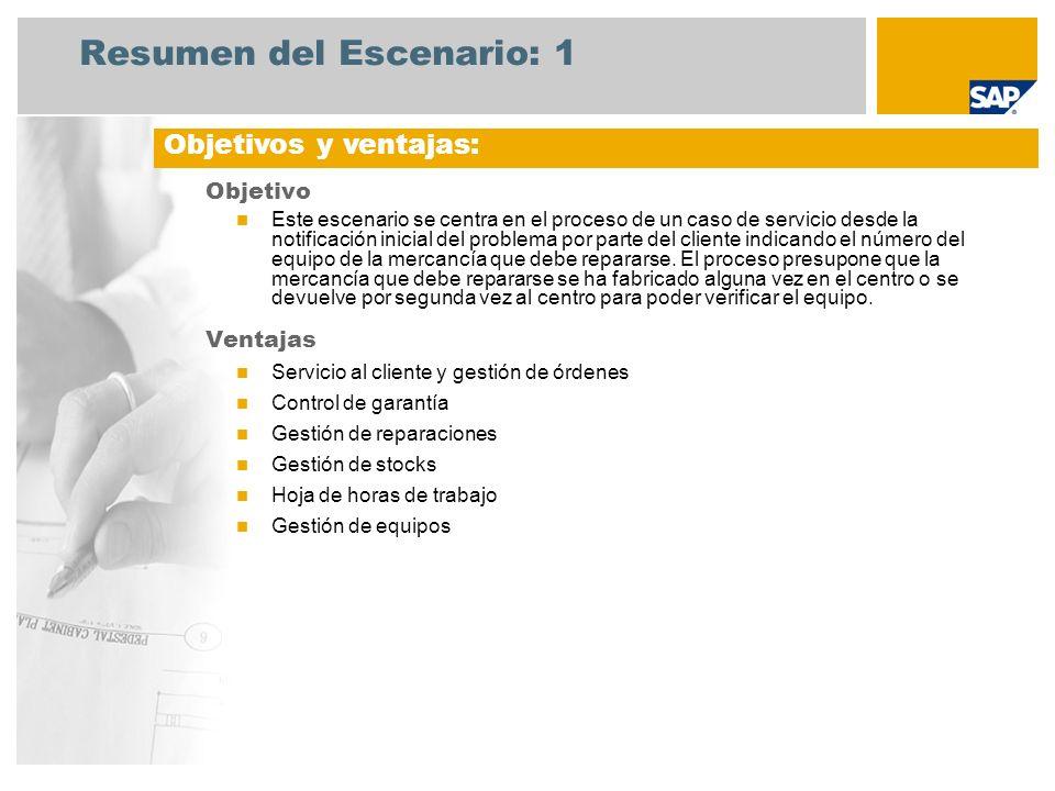Resumen del Escenario: 1 Objetivo Este escenario se centra en el proceso de un caso de servicio desde la notificación inicial del problema por parte d