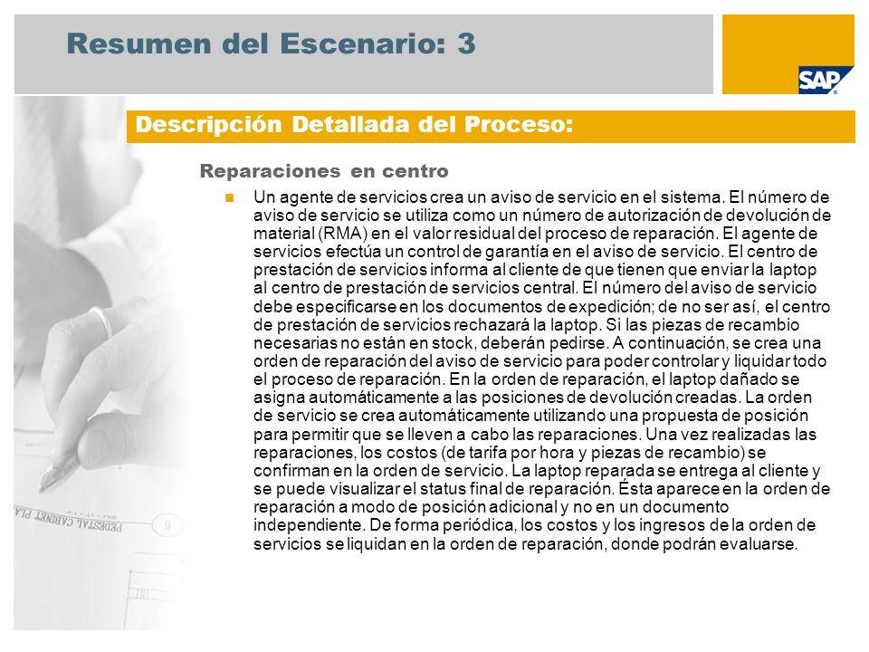 Resumen del Escenario: 3 Reparaciones en centro Un agente de servicios crea un aviso de servicio en el sistema. El número de aviso de servicio se util
