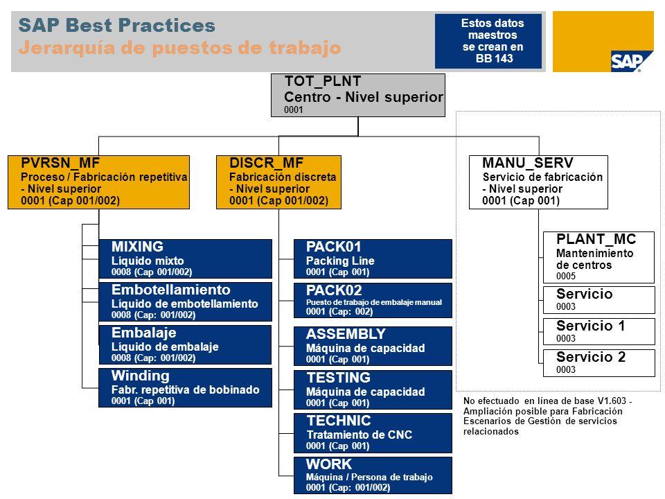 SAP Best Practices Jerarquía de puestos de trabajo MANU_SERV Servicio de fabricación - Nivel superior 0001 (Cap 001) PLANT_MC Mantenimiento de centros