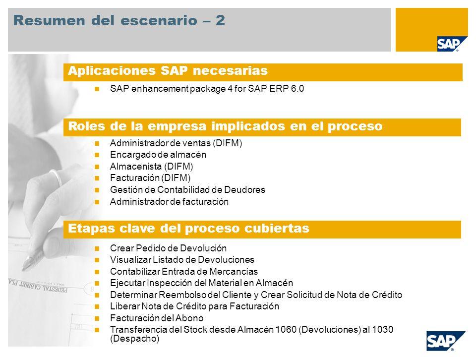 Resumen del escenario – 2 SAP enhancement package 4 for SAP ERP 6.0 Gestión de Ventas Administrador de ventas (DIFM) Encargado de almacén Almacenista